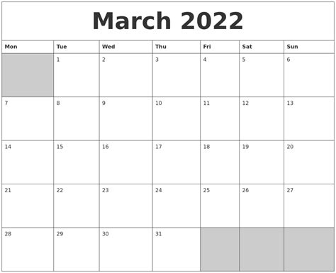 blank calendar template starting with monday march 2022 blank printable calendar