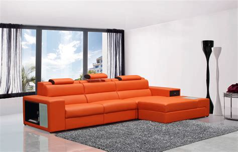 contemporary leather sectional polaris mini contemporary orange bonded leather sectional sofa