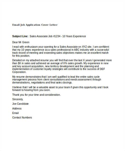 application letter email exle 45 cover letter templates free premium templates
