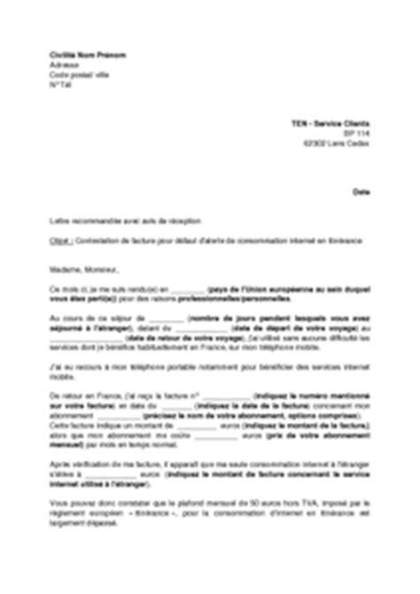 Lettre De Contestation Contrat Mobile Exemple Gratuit De Lettre Contestation Une Facture Ten Mobile D 233 Faut Alerte Consommation