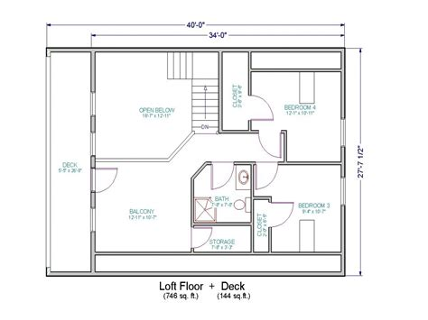 Open Floor House Plans With Loft | small house floor plans with loft small cottage house