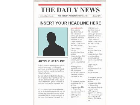 Editable Newspaper Template Portrait Powerpoint Newspaper Templates