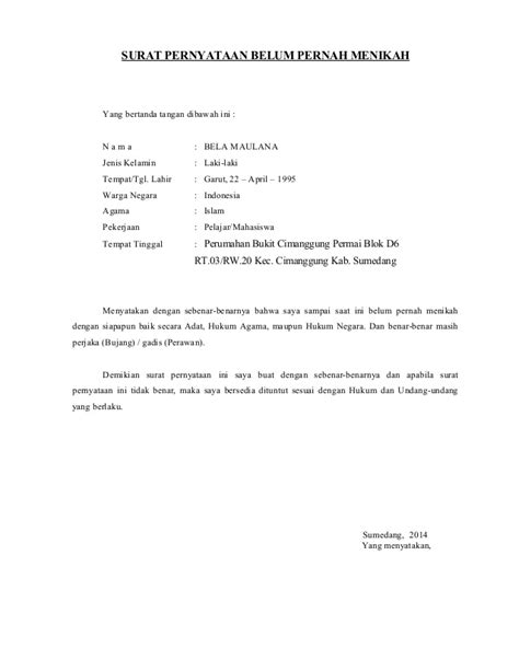 surat pernyataan belum menikah bela maulana