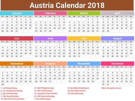 Ferien 2018 Sterreich 2018 Frohes Neues Jahr 214 Sterreich Kalender Printable