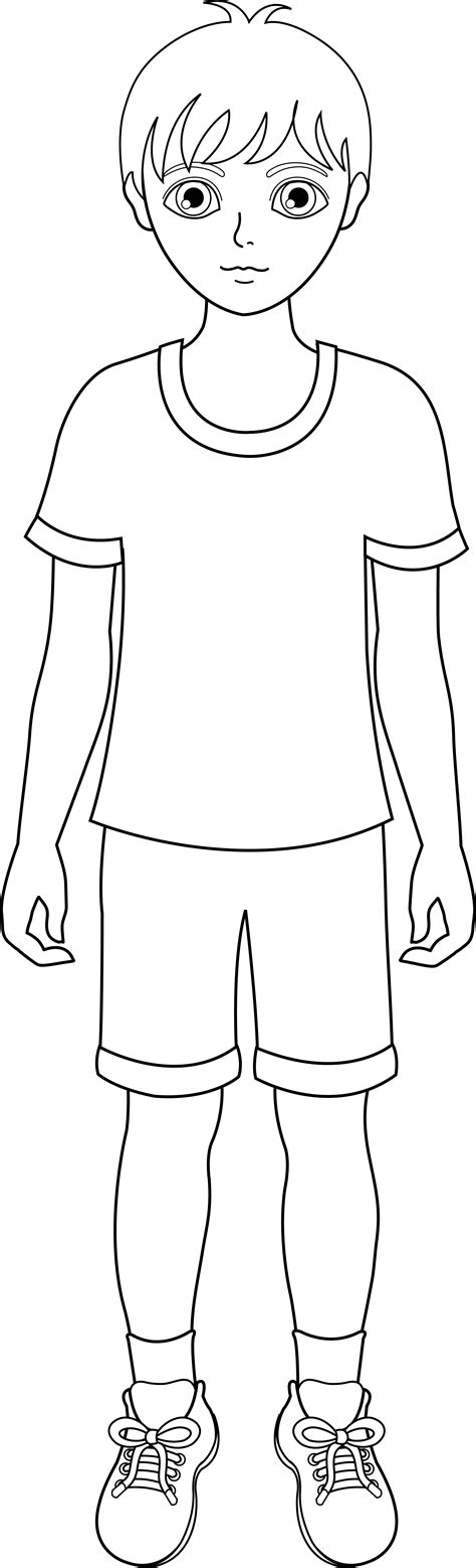 little boy coloring page clipart line art of a young boy free clip art