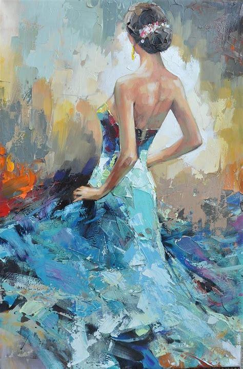 peinture femme en robe de soir 233 e bleue tableau moderne