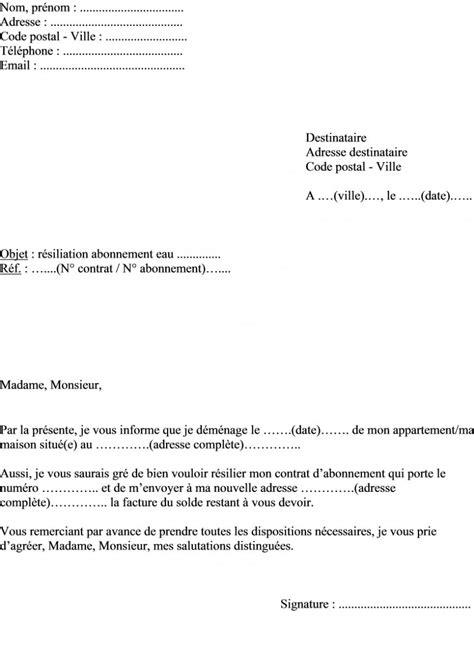 Lettre De Resiliation Free Cause Demenagement Modele Lettre Resiliation Eau Document