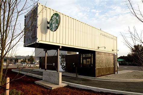 starbucks drive thru and walk up store made from shipping