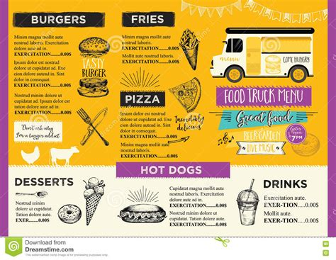 food truck menu template food truck invitation food menu template design food fly stock vector image 71333323