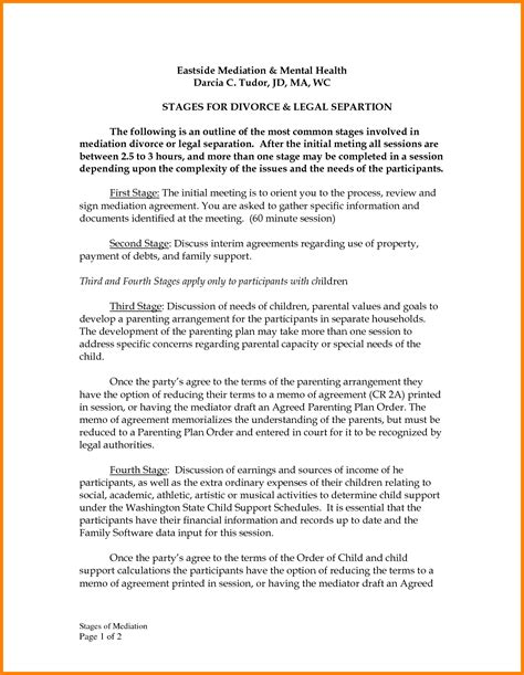 Letter Of Agreement Divorce 11 Divorce Settlement Agreement Form Sle Ledger Paper