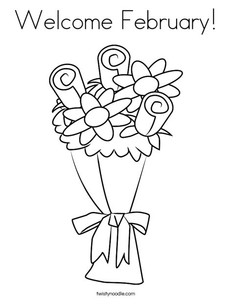 welcome february coloring page twisty noodle
