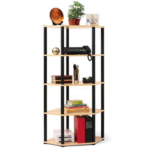 corner 5 shelf open bookcase light oak and black