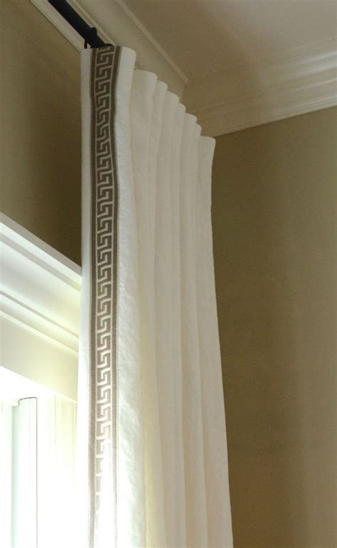 greek key curtains drapes pleated linen drapery panels with greek key trim made to