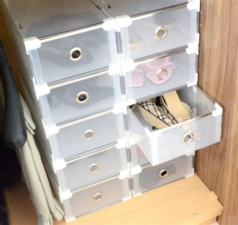 Pull Out Drawer Shoe Rack by Della Clear Shoe Storage Boxes With Pull Out Drawers
