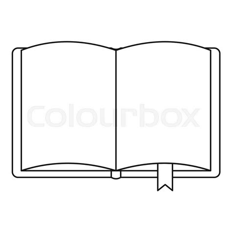Outline Of A Open Book by Open Book With Bookmark Icon Outline Illustration Of Open Book With Bookmark Vector Icon For