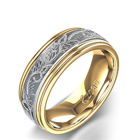 Vintage Scroll Design Men's Wedding Ring in 14k Two Tone