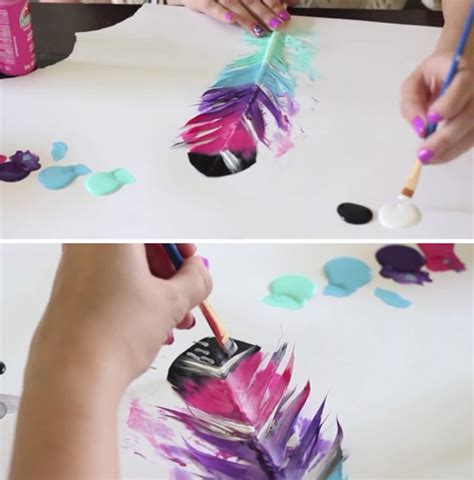 painting craft ideas for diy painted feathers
