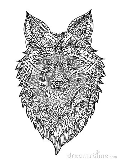 zentangle fox head stock vector image