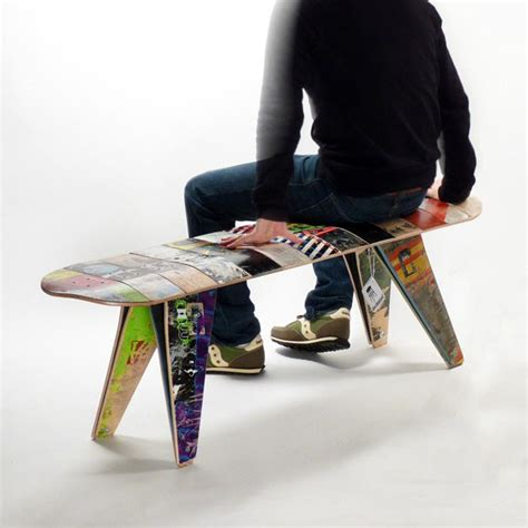 how to make a skateboard bench colorful new bench gives old skateboards new trick
