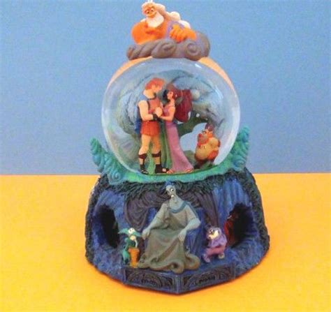 disney hercules and meg musical snow globe with motion
