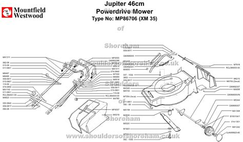 Sparepart Jupiter mp86706 mountfield jupiter 46cm power drive machine