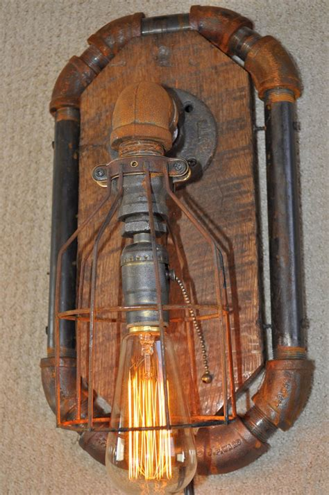 Steampunk Sconce Industrial Steampunk Machine Age Octogon Wall Sconce Lamp