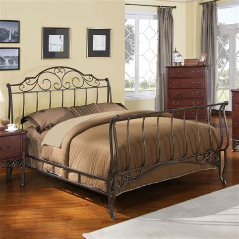 metal headboard and footboard full full size metal sleigh bed in antique bronze cast iron