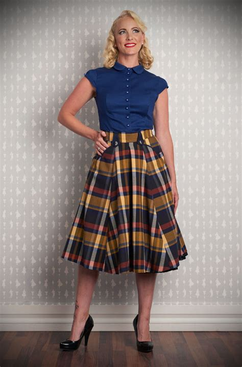 Skirt The Typical Day Swing The Usual Days Pv 0117015 navy blue and mustard tartan swing skirt by miss candyfloss