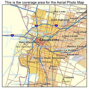 aerial photography map of sacramento ca california