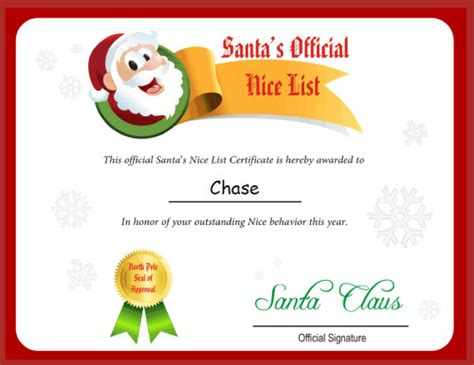 printable santa good list the printable santa s nice list from free letter from