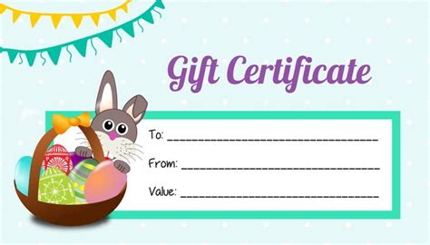 easter gift card template easter gift certificate template free image collections