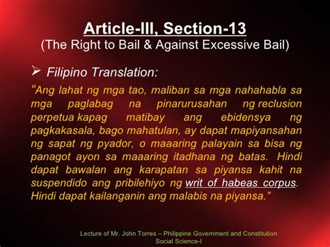 bill of rights section 18 explanation bill of rights lecture 4