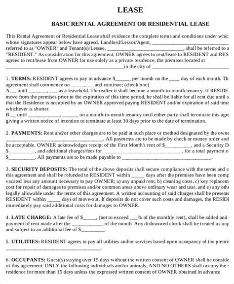 printable lease agreement rental property printable rental agreement 7 free word pdf documents