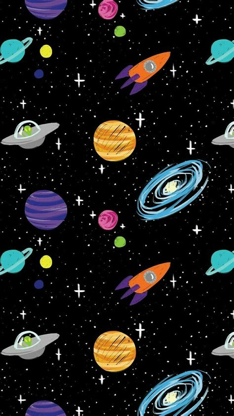 space cartoon aliens rocket ships planets galaxy iphone