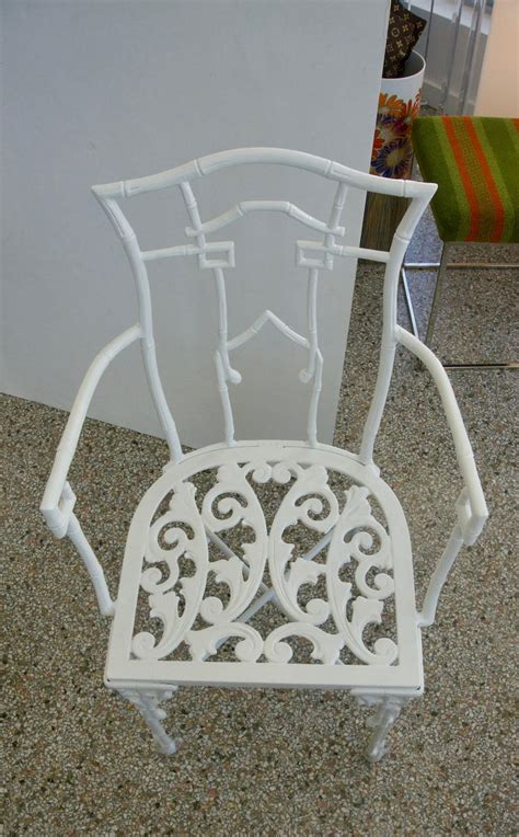 faux bamboo white  piece patio table  chairs