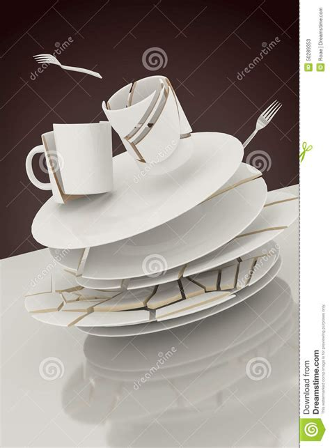 broken plates stock illustration image 50289353