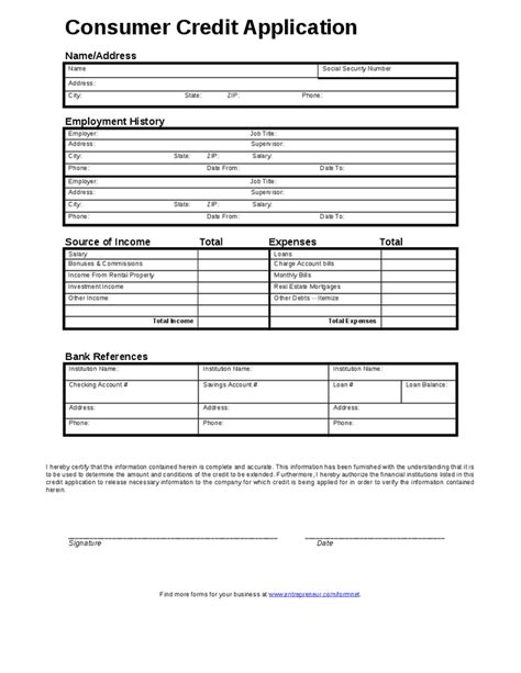 Consumer Credit Application Form Template by Credit Application Form Free Printable Documents