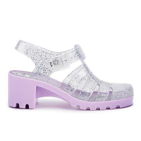 Sendal Wedges Jelly Transparan Gliters 210 juju s heeled jelly sandals multi glitter orchid free uk delivery allsole