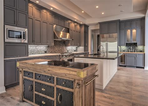 Industrial cabinet hardware kitchen transitional with gray kitchen cabinets white counte