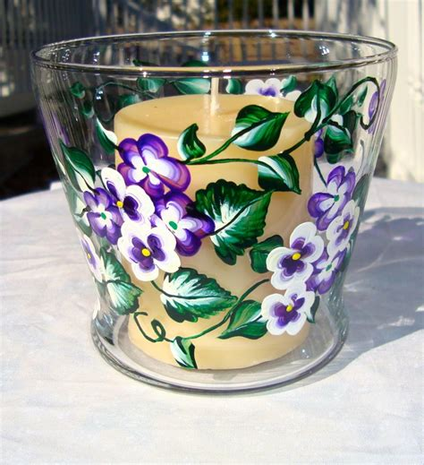 Candle Dish Holder Painted Glass Candle Holder Dish Potpourri Holder