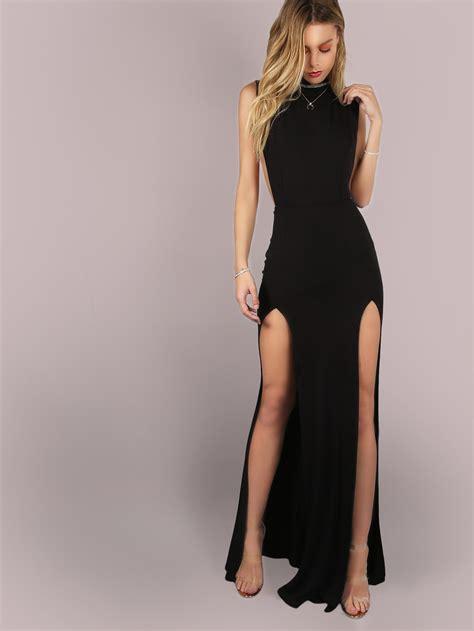 Slit Dress Maxi Dress Wanita Gitta Slit mesh back slit maxi dress shein sheinside
