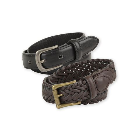 basic editions boy s 2 pack leather belts clothing