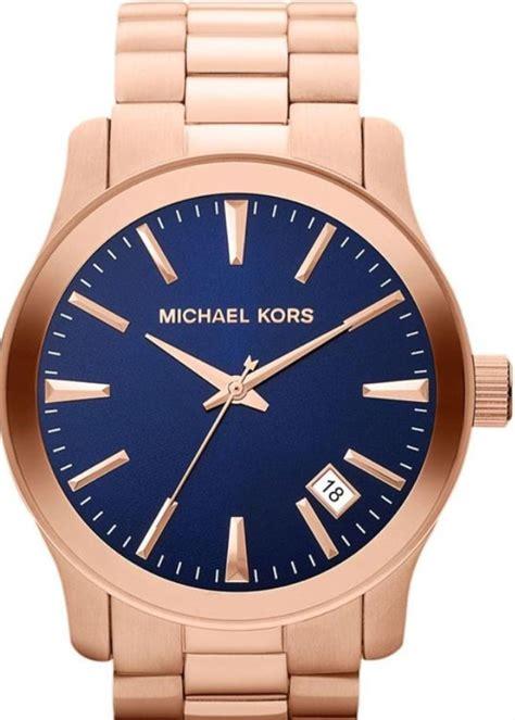 michael kors mens mk7065 gold tone blue
