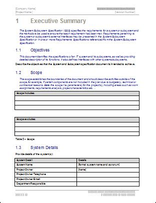 system subsystem specification template free templates