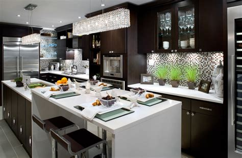 brown and blue contemporary kitchen with large kitchen island this contemporary kitchen s large two tone cabinets contemporary kitchen brandon barre