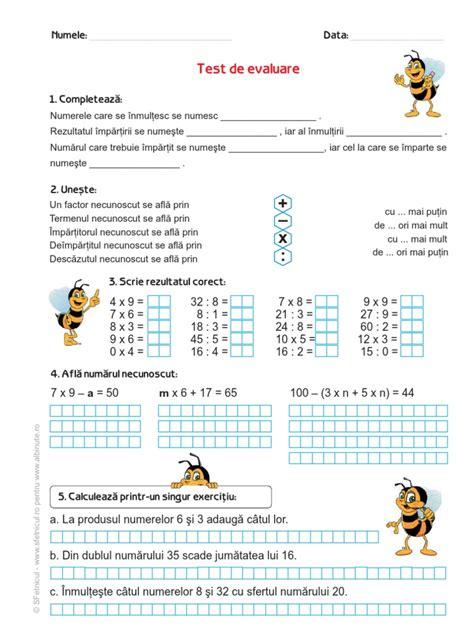 test matematica test de evaluare matematic艫 clasa a iii a