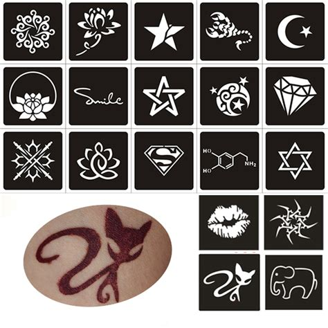50pcs small glitter tattoo stencil woman female kids cute