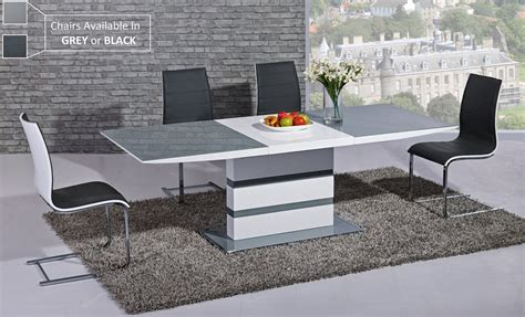 Extending Dining Table With 6 Chairs Extending Grey Glass White High Gloss Dining Table 6 Chairs