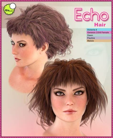 echo hair studio biscuits echo hair hair for poser and daz studio