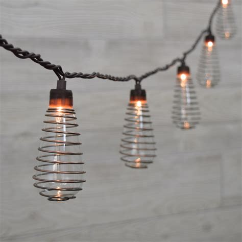 Wire Spiral Patio String Lights Wired Landscape Lighting